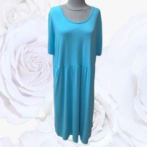 J. JILL Comfy Midi Dress Blue Pockets XL Tall